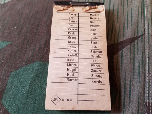 WWII German DRGM Shopping Grocery List