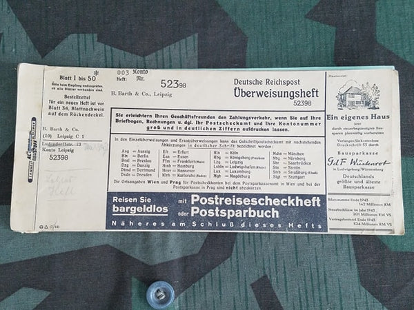 WWII German Deutsche Reichpost Bank Transfer Form Booklet
