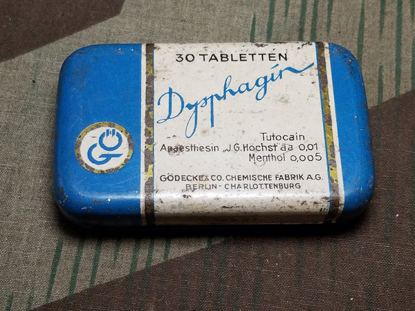 WWII German Dysphagin Tutocain Local Anesthetic Pill Container