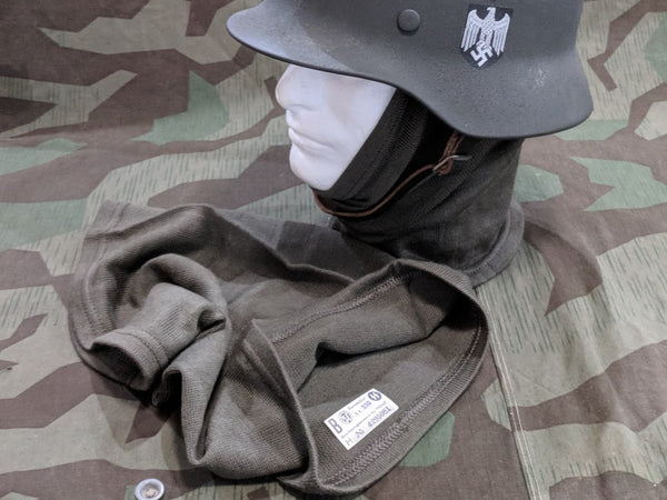 WWII German Feldgrau Toque Tube Scarf with SS RZM Tag for Reenacting