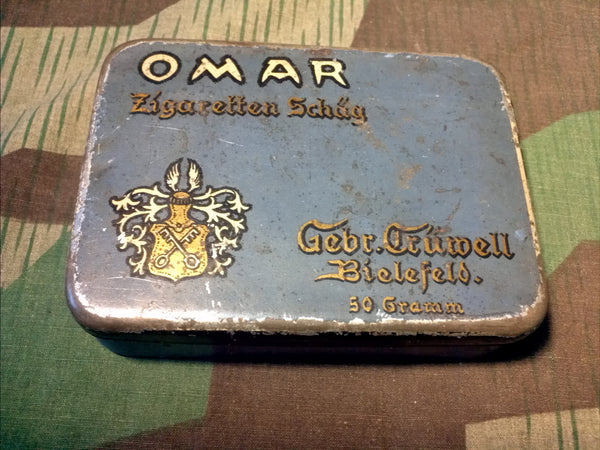 WWII German Omar Cigarette Cut Tobacco Tin Gebr. Crüwell