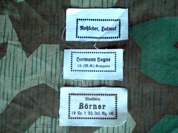 WWII German Original Name Labels