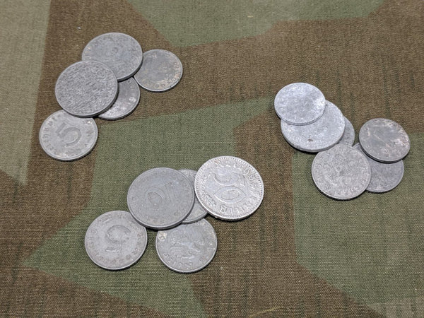 WWII German Reichspfennig Coin Sets Marks (set of 5)