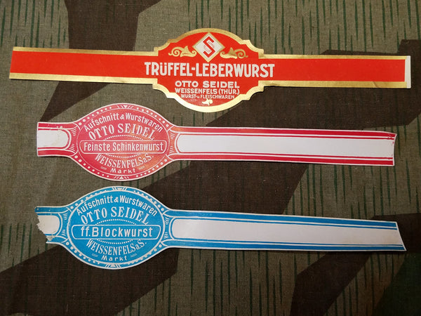 WWII German Sausage Wrappers - Leberwurst, Schinkenwurst, Blockwurst (Set of 3)