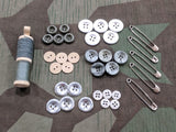 Sewing Set: Buttons, Thread, Safety Pins