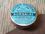 WWII German Victoria Apotheke Borsalbe Tin For Minor Cuts Wounds