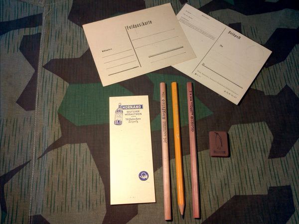 WWII German Writing Set - Pencils, Erasers, Feldpost
