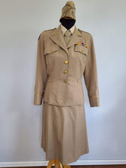 "Complete Khaki WAC Officer's Uniform <br> (B-37"" W-26.5"" H-39"")"