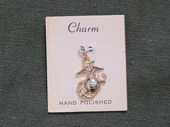WWII Marine Corps Sweetheart Charm on Card USMC EGA NOS