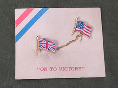 "WWII ""On to Victory"" British and American Flag Pins"