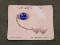 WWII Sweetheart US Navy Heart Chain Pins on Card