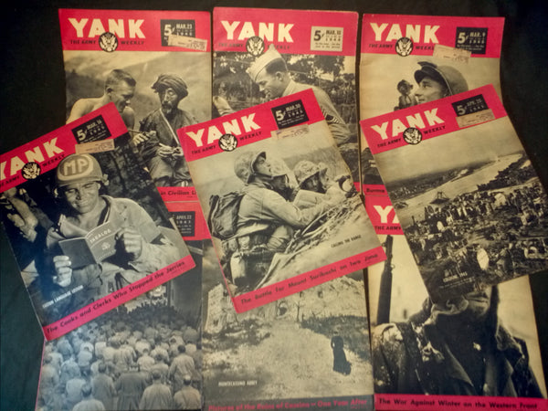 WWII US 9 Yank Magazines - 1945 Vintage Grouping Lot