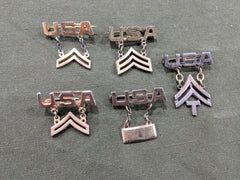 WWII US Army Rank Sweetheart Pins Sterling Silver