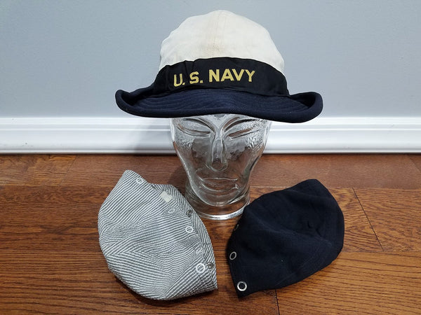 WWII US Navy WAVES Service Hat Seersucker Blue & White Covers Size 23