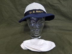 WWII US Navy WAVES Service Hat Seersucker & White Covers (Size 22 1/2)