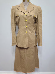 WWII WAC Women's Tropical Worsted Khaki Uniform Jacket & Skirt 10R