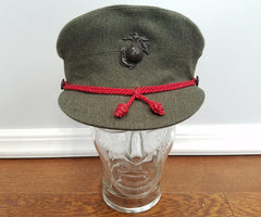 WWII Women's Marine Uniform Hat w/ Brown Plastic EGA - Size 22 1/2 USMCWR