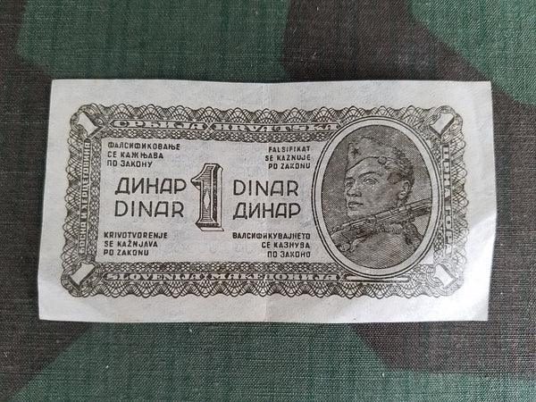WWII Yugoslavia 1 Dinar Note Paper Money Bill 1940s Currency