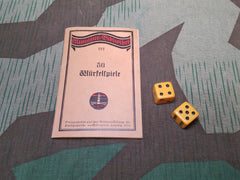 WWI German 1914 Dice Game Book with 2 Bakelite Dice
