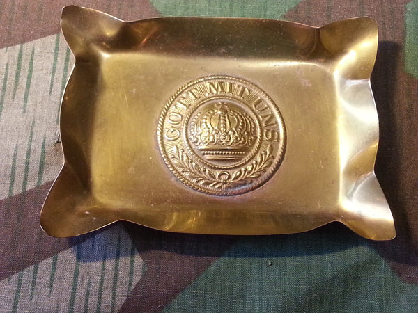 WWI German Belt Buckle Ashtray Gott Mit Uns Trench Art