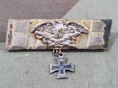 WWI German Brooch Pin with Iron Cross - Made from Artillery Shell Band