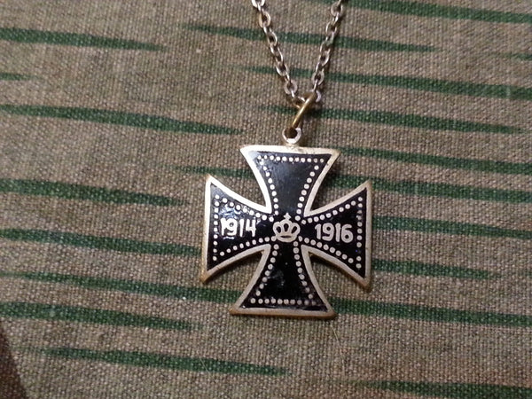 WWI German Enamel Iron Cross Sweetheart Necklace