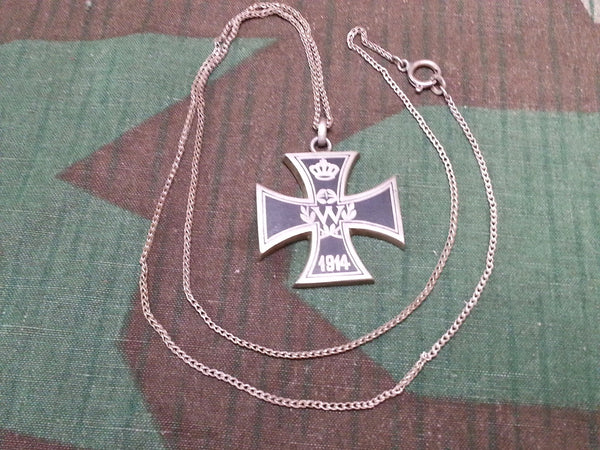 WWI German Engraved Iron Cross Necklace