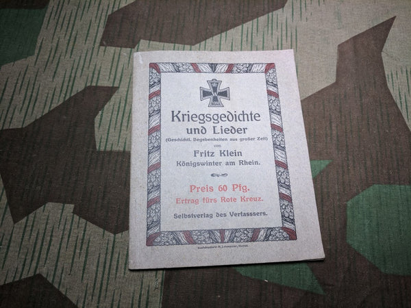 WWI German War Poems and Song Book - Rote Kreuz Edition