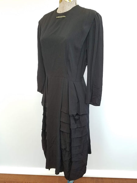 "Black Rayon Dress with Brooch (Fading) <br> (B-40"" W-26"" H-36"")"