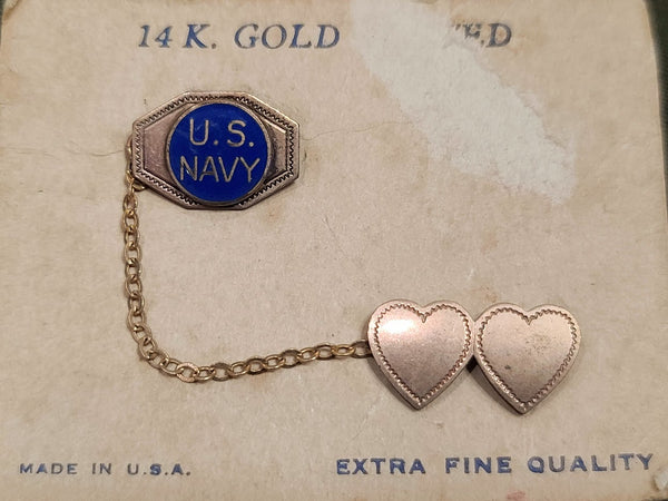 US Navy Heart Chain Pins on Card