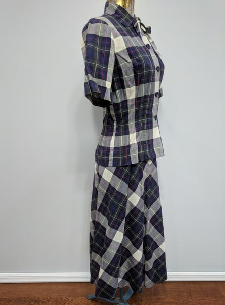 "Plaid Outfit: Blouse and Skirt <br> (B-35"" W-24"" H-36"")"
