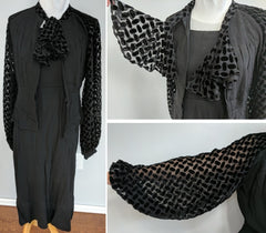 "Black Rayon Dress and Jacket with Bishop Sleeves <br> (B-34"" W-27"" H-37"")"