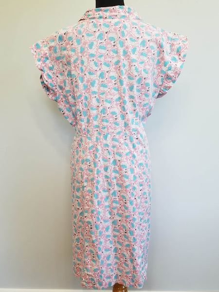 "Pink Blue White Flower Print Dress <br> (B-47"" W-38"" H-48"")"