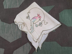 Vintage 1930s 1940s Silk Hankie  with Bird