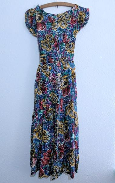 "Abstract Flower Print Sleeveless Dress <br> (B-34"" W-28"")"