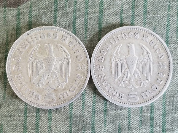 Original Silver 5 Reichsmark Coins (1935 & 1936 Dated)