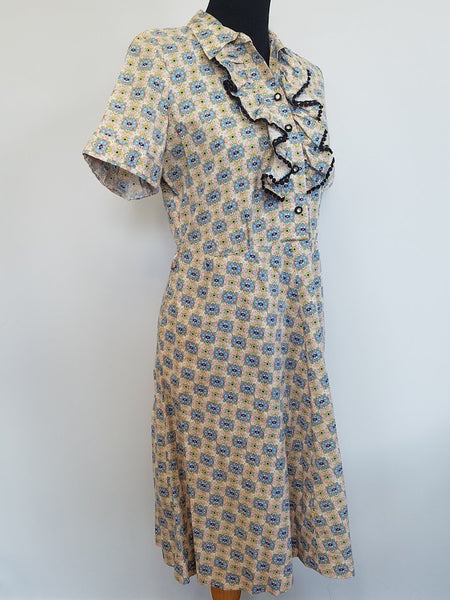 "Abstract Print Dress with Ruffles and Rhinestones <br> (B-37 1/2"" W-31"" H-39 1/2"")"