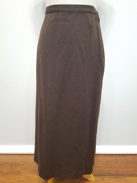 "Brown Wool Skirt Suit <br> (B-35"" W-27"" H-37"")"