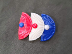 Vintage 1940s Red White Blue Patriotic Fan Design Pin