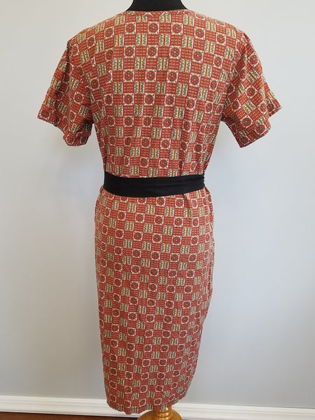 "Red Housedress with Tie Belt <br> (B-40"" W-39"" H-42"")"