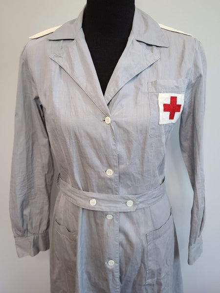 "Red Cross Gray Lady Uniform Dress & Hat <br> (B-43"" W-35"" H-44.75"")"