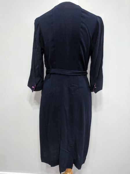 "Blue Dress with Pink Trim <br> (B-38"" W-32 1/2"" H-38"")"