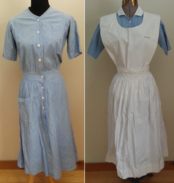 Vintage 1940s WWII Blue Nurse Dress & Apron - Named