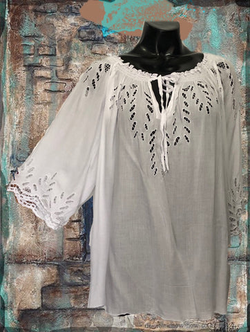 Cut Lace White Top