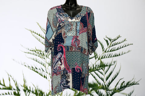 Boho Paisley V-Neck Top
