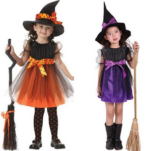 Kids Girls Halloween Costumes Witch Dress With Hat