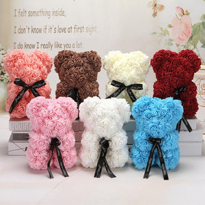 Rose Teddy Bear - 10 Inches Flower Teddy Bear (WITH BOX)