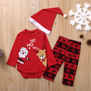 Toddler Baby Boys Girls Christmas Santa long sleeve Romper Bodysuit+Cartoon Pants+Hat Outfits
