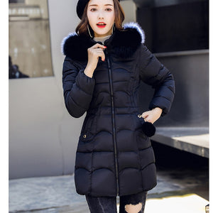 Female Winter Warm Cotton Hooded Slim  Long-Sleeved Casual Hight Quality  Coat