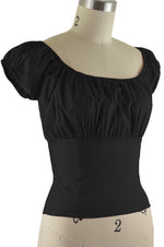 Daisy Peasant Top - Solid Black